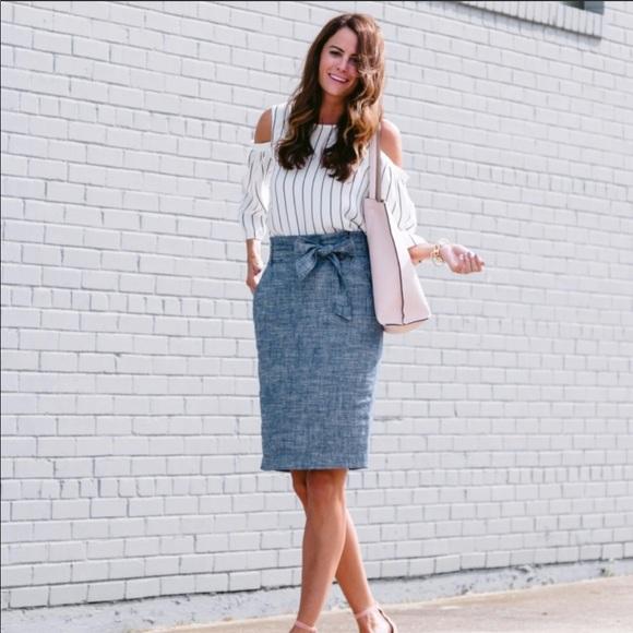 7c0b806c07 Ann Taylor Skirts   Nwt Chambray Paper Bag Skirt Tie Waist   Poshmark